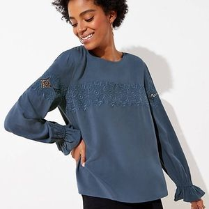 NWT LOFT Embroidered Lace Yoke Blouse